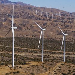 Picture of windmills in the hills.